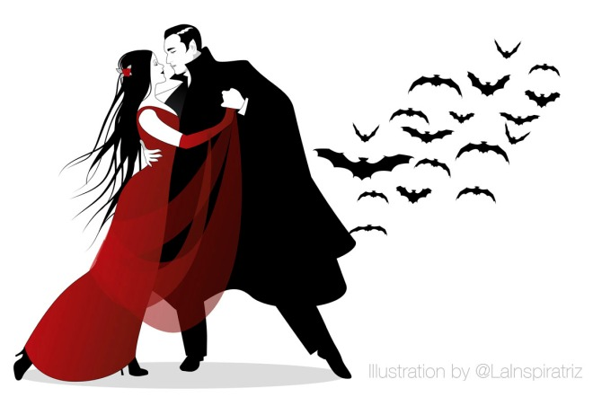 Halloween Dance Party. Romantic vampire couple dancing at Halloween Night.