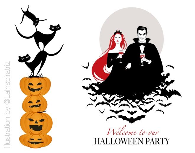 Black cat on a Halloween pumpkin. Vector Illustration. Isolated