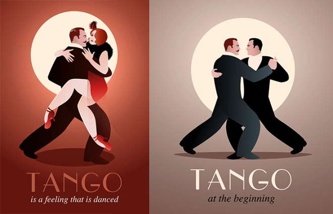 Passionate couple dancing Tango