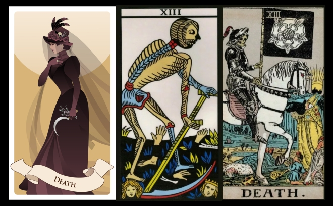 Major Arcana Tarot Cards. Death. Woman dressed in veils and ancient widow clothes carrying a sickle and a sprig of flowers in one hand. Hat decorated with feathers, roses and skull.